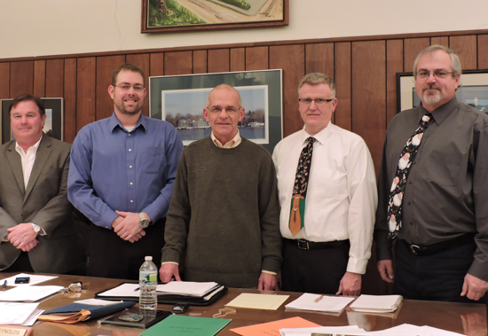Pictured, from left: Trustee Tim Adamson, Trustee Steven Suitor, Mayor Raleigh Reynolds, Trustee Stuart Comerford and Deputy Mayor Tim Lockhart.