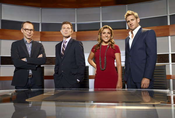 Pictured (left to right) from `America's Next Great Restaurant` are Steve Ells, Bobby Flay, Lorena Garcia and Curtis Stone. (photo by Mitchell Haaseth/NBC)