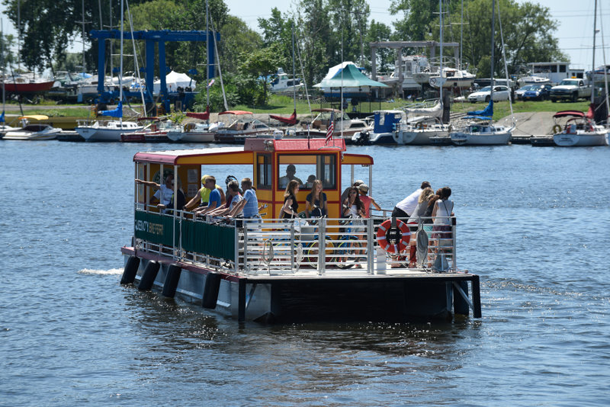 The Queen City Bike Ferry in operation.