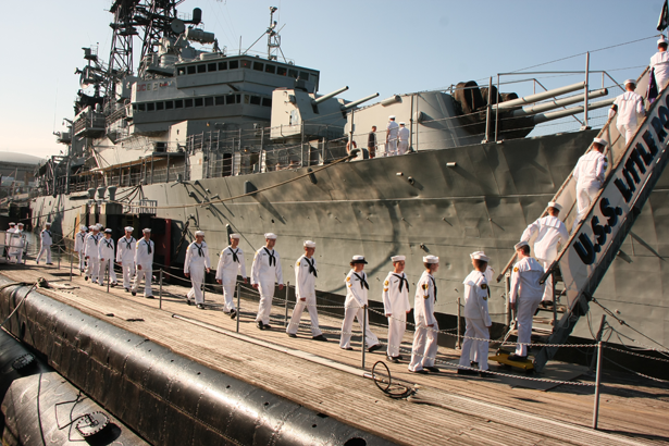 Sea Cadets boarding the USS Little Rock at the Buffalo and Erie County Naval & Military Park.