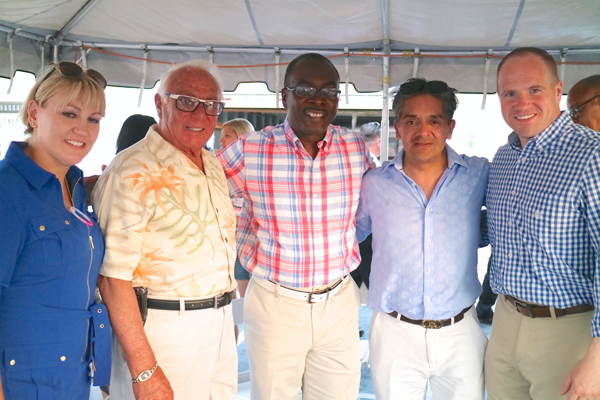 From left, Danielle Fox, Russell J. Salvatore, Buffalo Mayor Byron Brown, Manny Ledezma, New York State Senator Tim Kennedy at Canalside on July 4 (Photos by Donna Stewart)