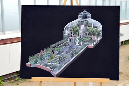 A rendering of new exhibits planned for the renovated greenhouses. The aquatic garden will include a new water feature, refurbished koi pond, a new bridge over the koi pond, and many plants native to Asia. The Asian rainforest will feature a decorative teahouse, a moon gate, a redesigned waterfall, orchids, bamboo and a bonsai collection.