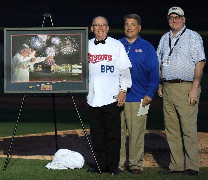 From left: Paul Ferington, Mike Buczkowski and BPO Executive Director Dan Hart. (Photo courtesy of the Buffalo Bisons)