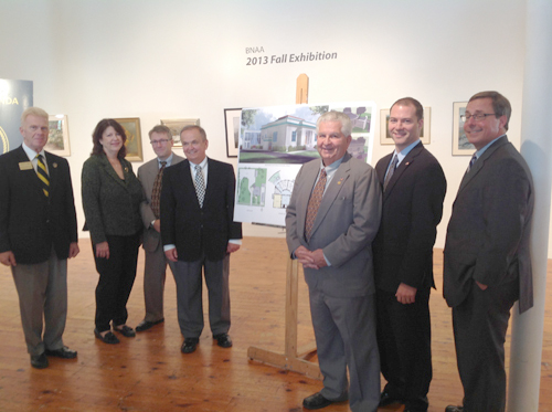 A $343,000 grant was awarded to the City of North Tonawanda for renovations at the Carnegie Art Center. The picture shows an architectural drawing of the renovations planned, along with key officials attending the event. Shown, from left: North Tonawanda Alderman-at-Large Bob Clark, Executive Director of the Carnegie Art Center Mary Simpson, City of North Tonawanda Attorney Shawn Nickerson, State Sen. George Maziarz, North Tonawanda 1st Ward Alderman Russ Rizzo, North Tonawanda Mayor Robert G. Ortt and Regional President of Upstate Empire State Development Corp. Sam Hoyt.