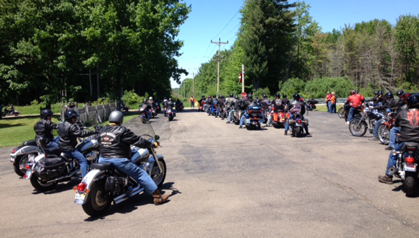 Bikers participate in the 2015 Louis J. Billittier Foundation Motorcycle Poker Run and Charity Raffle.