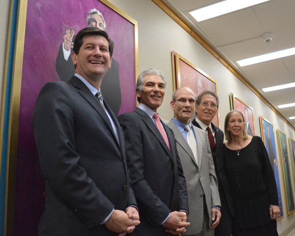 Erie County Executive Mark C. Poloncarz, far left, poses with former Erie County executives Joel Giambra, Dennis Gorski and Ed Rutkowski and local artist Mary Smith, as life-sized portraits painted by Smith were unveiled at a ceremony held in the county executive's chambers of the Rath Building.