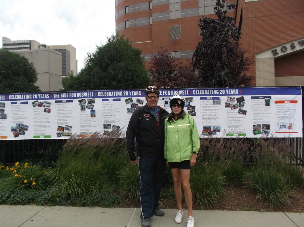 Mike and Deb looking relaxed in front of Roswell before the 26-mile ride began at 8 a.m. on Mike's 60th birthday.