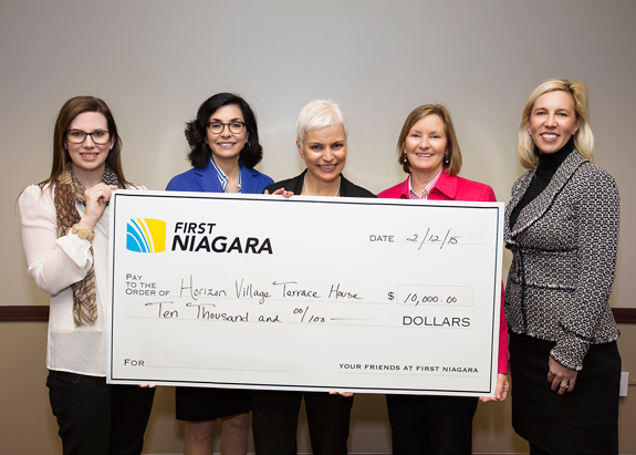 Pictured, from left, are Horizon Health Services' Brandy Vandermark-Murray, Julie Israel and President and CEO Anne Constantino, as well as First Niagara Foundation Executive Director Elizabeth Gurney and Alexandra Wehr of First Niagara. Click for a larger image.