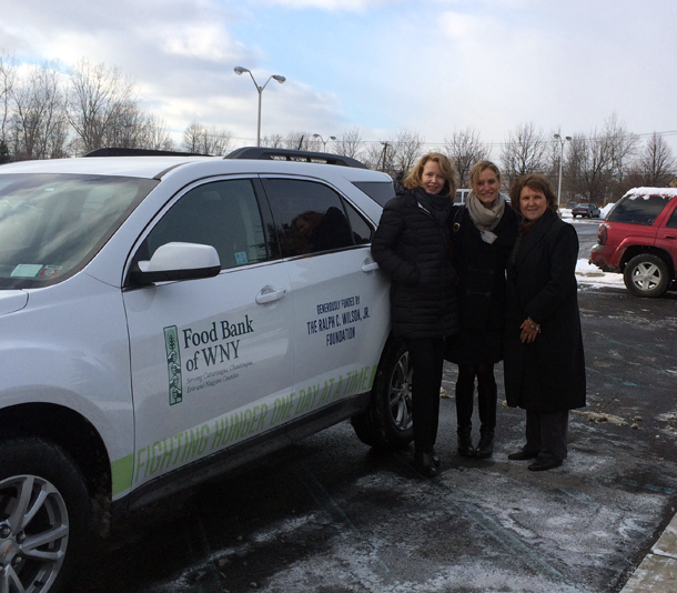 In the photo, from left: foundation trustees Mary Wilson (wife of Ralph C. Wilson Jr.) and Mary Owen (Ralph's niece) join Marylou Borowiak, president and CEO of the Food Bank of Western New York, alongside the Food Bank's new all-wheel-drive vehicle. The SUV, made possible through a grant, will allow the Food Bank to further expand its nutrition education programs and well as its number of site visits completed throughout the organization's four-county service area.