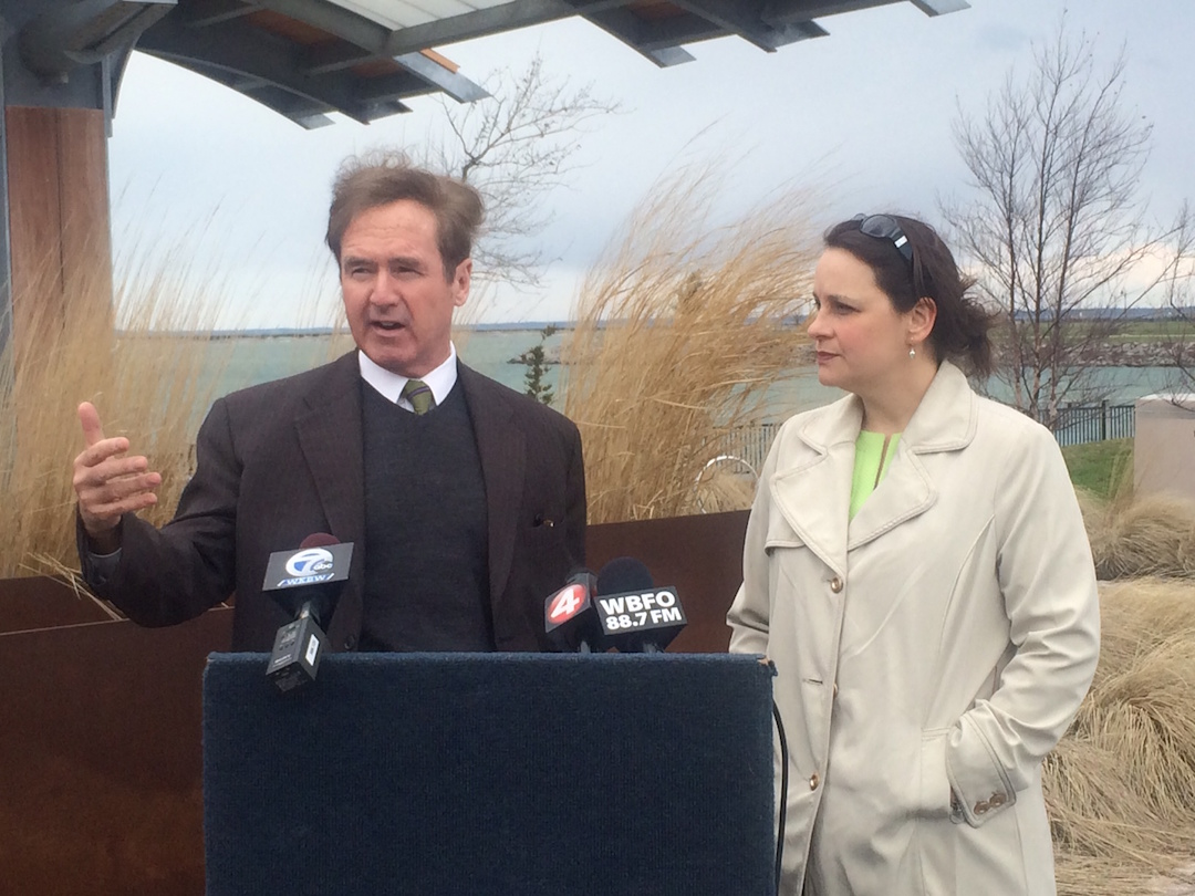 Congressman Brian Higgins and Jill Jedlicka, executive director of Buffalo Niagara Riverkeeper.