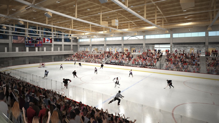 An artist's rendering of an ice rink inside HARBORCENTER.