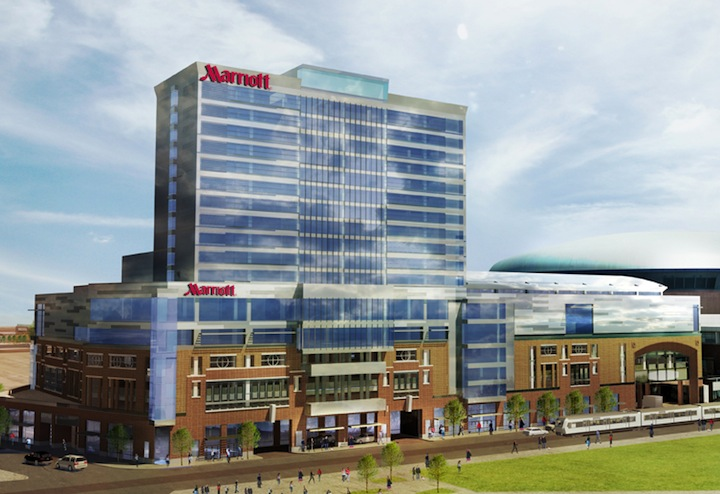 Pictured is a conceptual rendering of the HARBORcenter hotel.