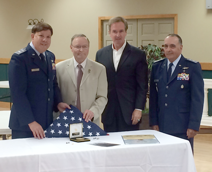 Congressman Brian Higgins is pictured with Alfred Corbran's son, Paul Corbran, Civil Air Patrol NY Wing Commander Col. Steven Perta and Lt. Col. Gerald Marketos.