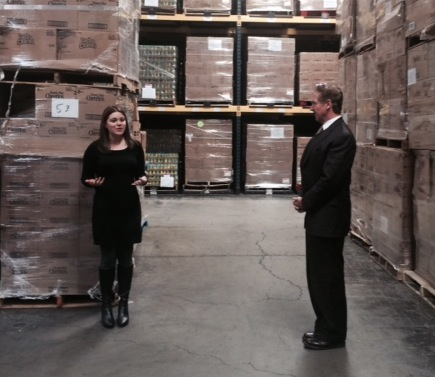 Stephanie Lawson, grants and youth programs supervisor for the Food Bank of Western New York, gives Congressman Brian Higgins a tour and details the Food Bank's programs and services.
