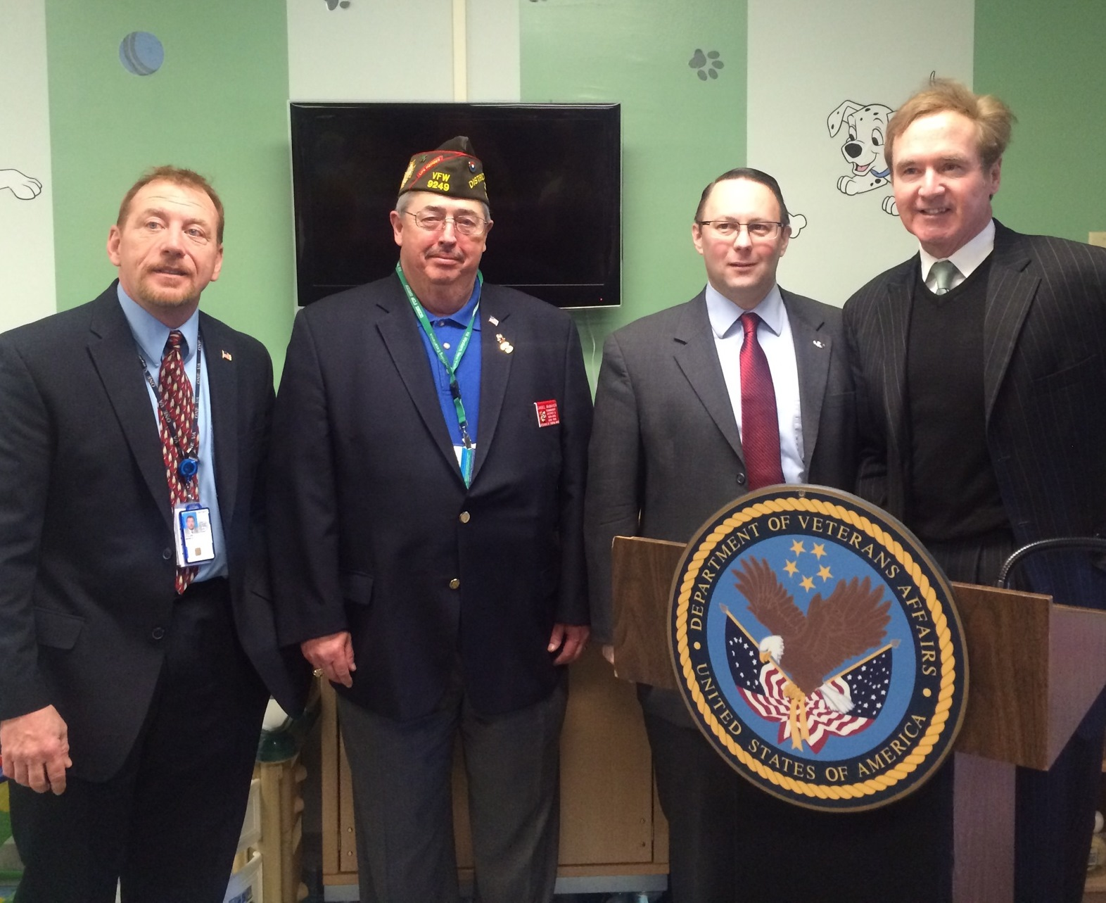 Pictured, from left: WNY VA Healthcare System Director Brian Stiller, VFW NY District 6 Commander Dan McMahon, Veteran One-Stop Center of WNY CEO Roger Woodworth and Congressman Brian Higgins.