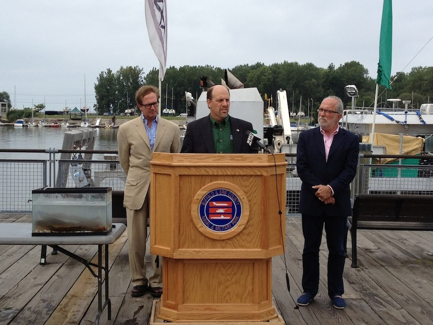 Pictured from left: Congressman Brian Higgins, USGS Great Lakes Science Center Director Russ Strach, ECHDC Chairman Robert Gioia
