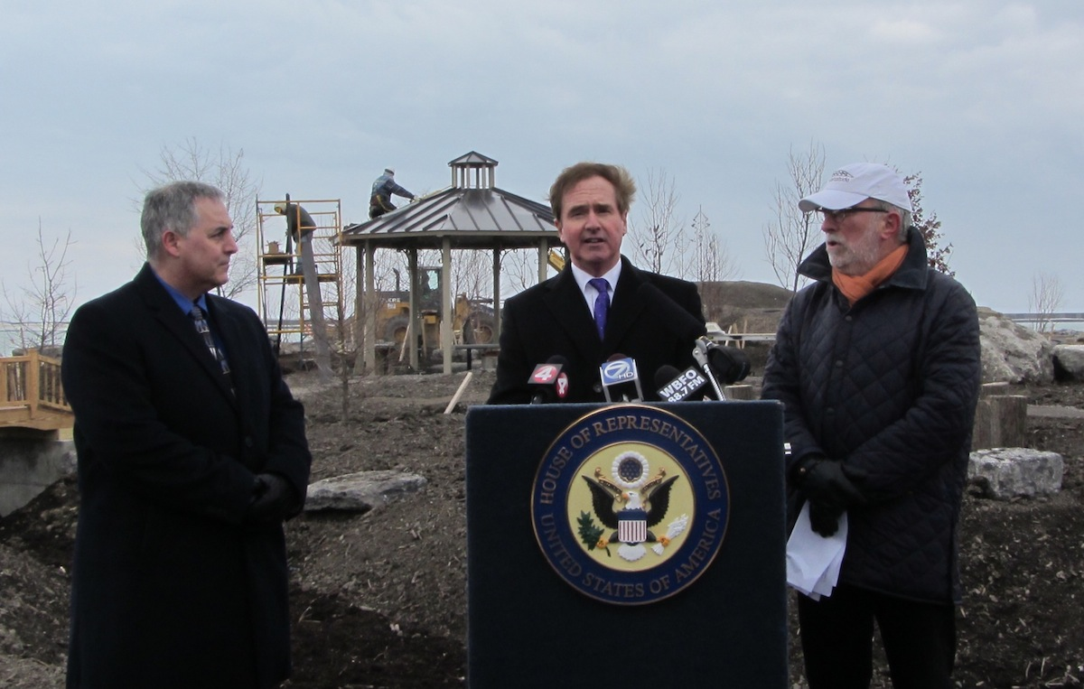 Pictured from left: NYPA Community Affairs Director Lou Paonessa, Congressman Brian Higgins and Erie Canal Harbor Development Chairman Robert Gioia