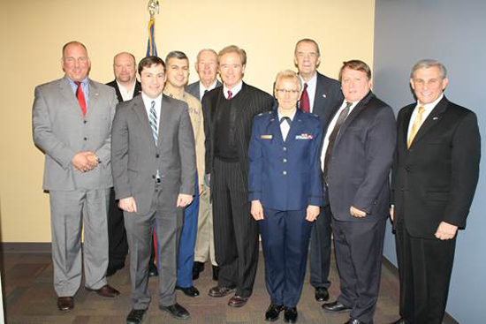 Pictured, from left, are James Montgomery, Mayor Geoff Szymanski, Sean Bunny, Jordan Then, Tom Higgins, Congressman Higgins, Heidi Reisman, Patrick Cunningham, Jim Otwell and Supervisor Anthony Caruana