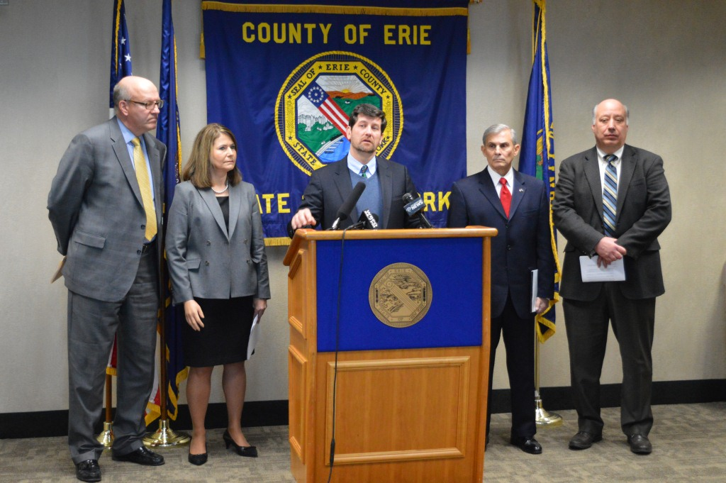 Erie County Executive Mark C. Poloncarz (at podium) is joined by Town of Tonawanda Councilman and Supervisor-elect Joseph Emminger, Superintendent of the Kenmore Tonawanda Union Free School District Dawn Mirand, Town of Tonawanda Supervisor Anthony Caruana and Erie County Industrial Development Agency Vice President John Cappellino to urge state action on the potential closure of the Huntley Generating Station in the Town of Tonawanda.