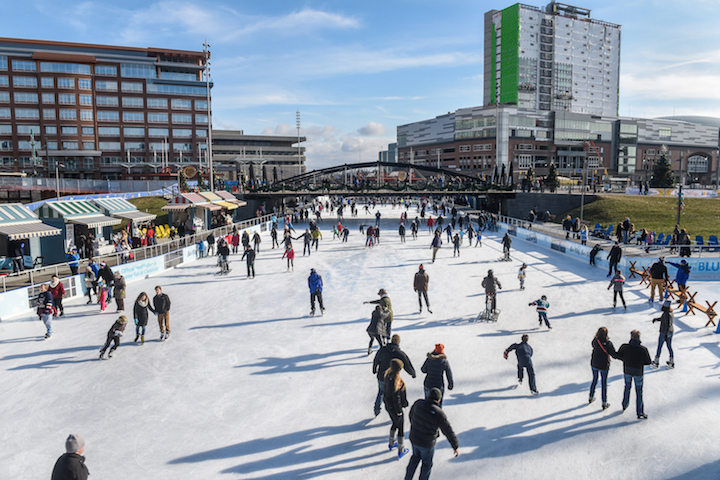 People enjoying The Ice at Canalside