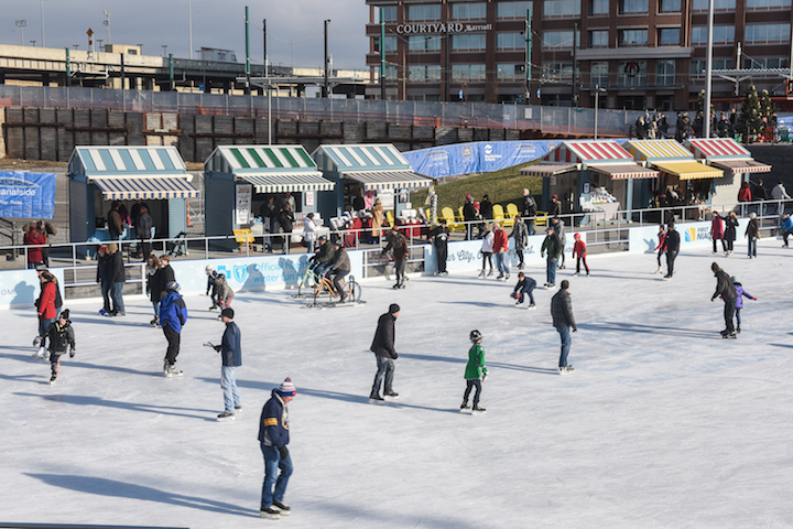 People enjoying The Ice at Canalside.