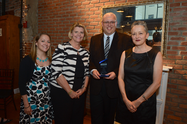 Pictured, from left: ASI Associate Director Jen Swan, Just Buffalo Board President Mary Farallo, ASI Executive Director Tod A. Kniazuk and Just Buffalo Executive Director Laurie Dean Torrell. (Photo by Nancy J. Parisi)