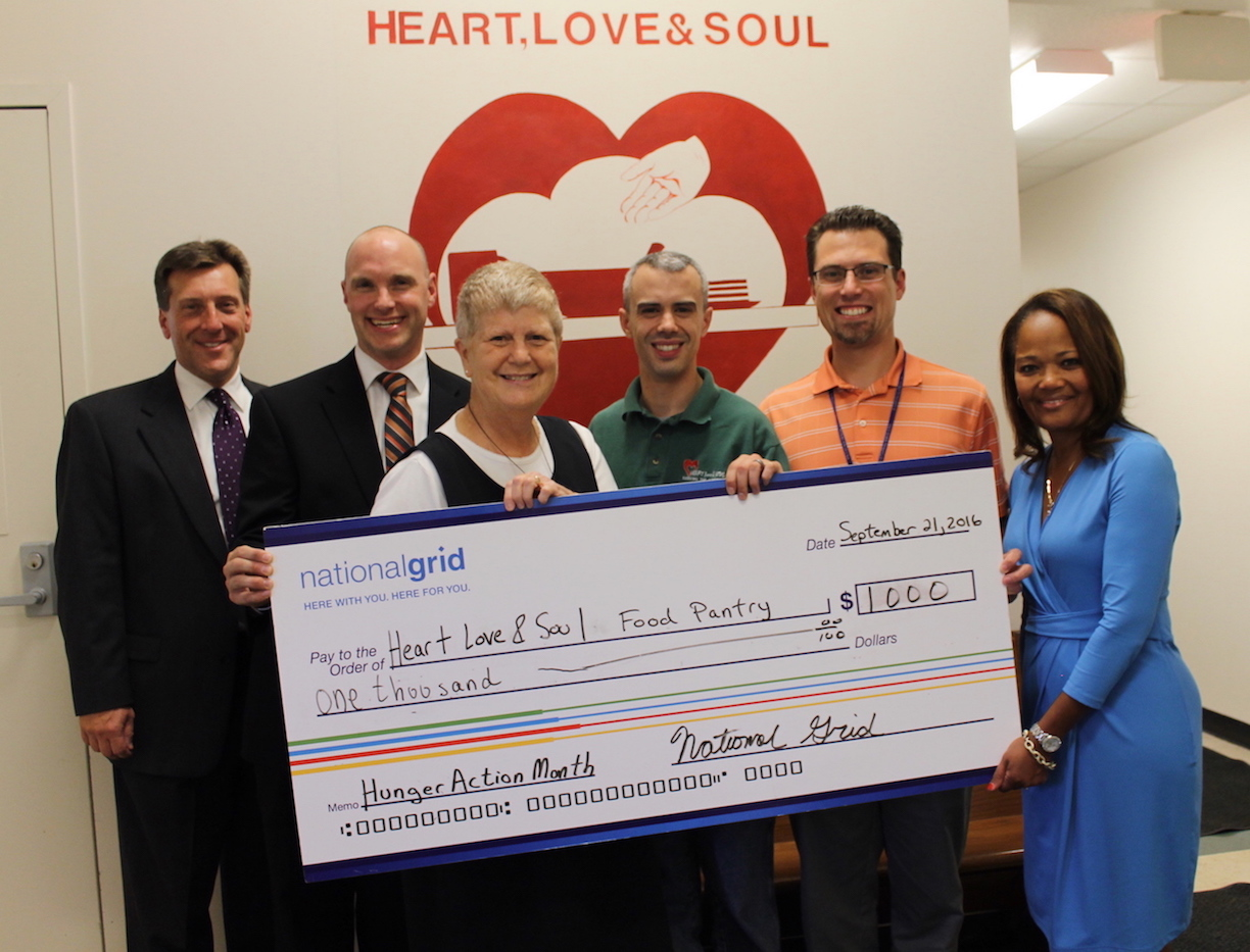 National Grid donated $1,000 to Heart, Love & Soul food pantry in Niagara Falls. Pictured, from left: Ken Kujawa, regional manager, National Grid; Dan Keating, jurisdictional manager, National Grid; Sister Beth Brosmer, Heart, Love & Soul executive director; Mike Daloia, Heart, Love & Soul assistant director; Matt Wiltrout, lead project manager; and Melanie Littlejohn, director.