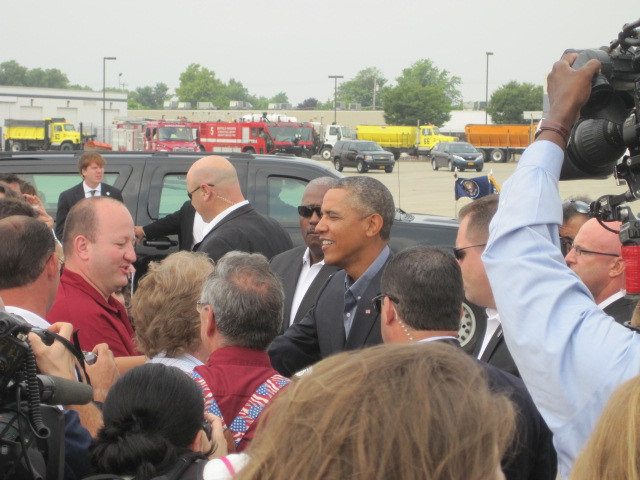 President Barack Obama arrived in Buffalo on Thursday morning. Upon exiting Air Force One, he was headed over to the University at Buffalo to address students, visitors and local leaders.