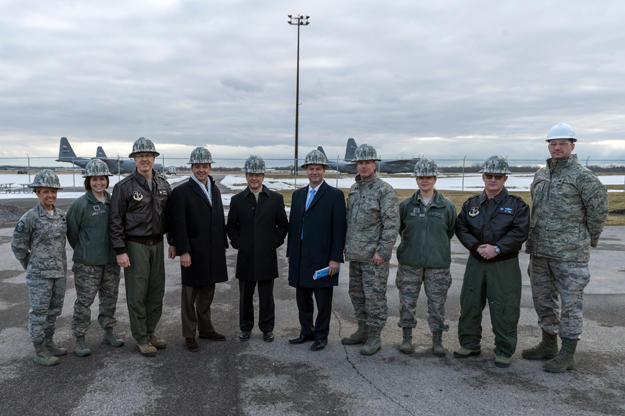 Pictured, from left, are Master Sgt. Krystal Stegner, Capt. Lindsay Doak, Col. Robert Kilgore, Sen. Tom Croci, Sen. Pat Gallivan, Sen. Rob Ortt, Lt. Col. Steven Hefferon, Senior Master Sgt. Jessica King, Lt. Col. David Warnick and Maj. Ryan Forrest.