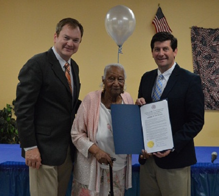 Pictured, from left: Erie County Commissioner of Senior Services Randy Hoak, Mrs. Ruby Palmer Godefrey and County Executive Mark C. Poloncarz.