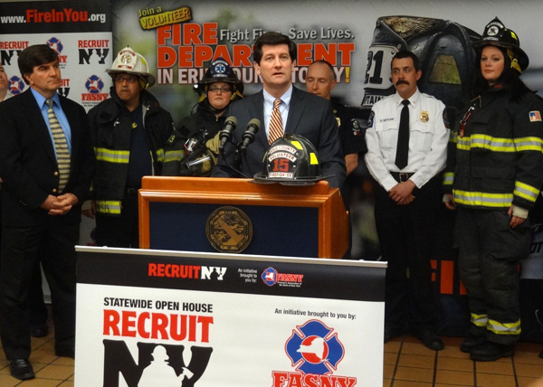 Erie County Executive Mark C. Poloncarz (center, at podium) joins local and state fire officials at the kickoff for the fifth annual `RecruitNY` volunteer firefighter recruitment effort. Open House Weekend takes place April 25-26 and features volunteer fire companies across the state opening their doors to residents for tours and demonstrations, while providing opportunities for residents to find out more about the requirements and benefits of being a volunteer firefighter.