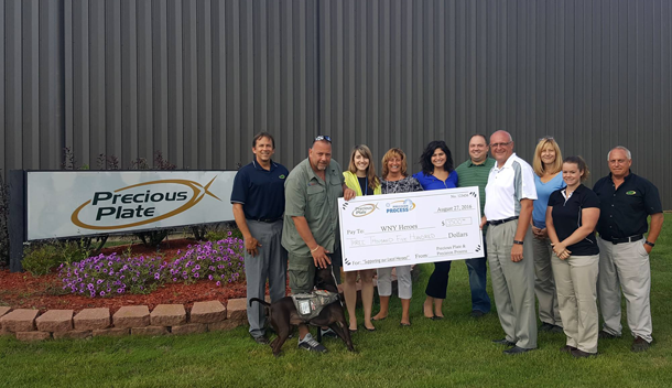 Precious Plate and Precision Process employees donate $3,500 to WNY Heroes, a not-for-profit organization serving the needs of Western New York's veterans and their families.