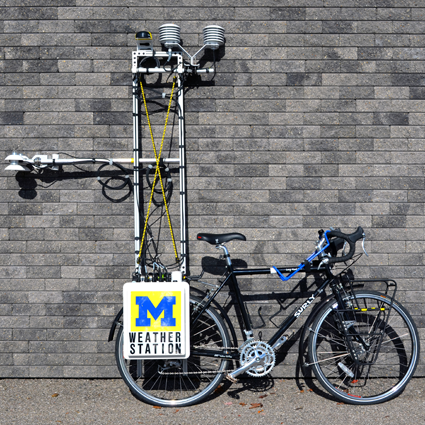 Nicholas Rajkovich, assistant professor of architecture at UB, designed and built his bicycle-based weather station in conjunction with the University of Michigan, from which he received his Ph.D.