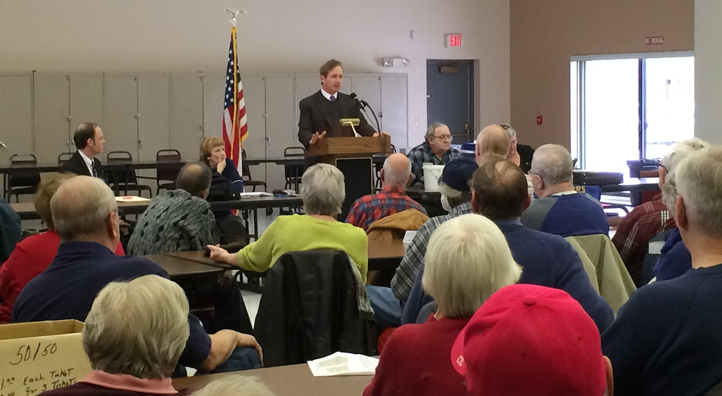 Congressman Brian Higgins speaks with retired steelworkers at a meeting in the City of Lackawanna.