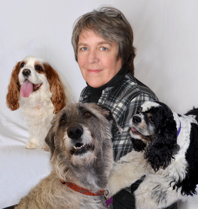 Barbara Carr with her pets (from left): Charlie, Enny and Dibbs.