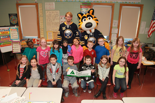 Buffalo Sabres player Anders Lindback meets with second-grade students at Southside Elementary.