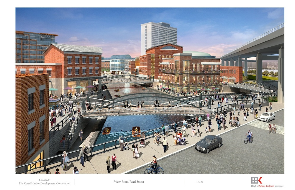 Pictured: Artistic renderings of plans to redevelop the South Aud Block at Canalside in Buffalo.