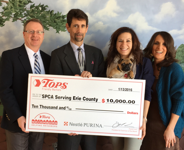 Pictured, from left: Timothy Kezar, account executive, Purina PetCare Co.; Andrew Brocato, director of public and community relations, Tops Markets; Jennifer Garver, director of development, SPCA Serving Erie County; and Gina Browning, director of public relations, SPCA Serving Erie County.