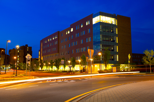 William R. Greiner Hall, a residential hall on UB's North Campus, includes design features that make it accessible for students with a much wider range of physical and cognitive abilities than traditional residence halls can typically accommodate. (photo by Douglas Levere)