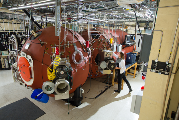 A grant from the U.S. Navy Office of Naval Research will allow for various safety and technology upgrades to the hyperbaric chamber housed on the University at Buffalo's South Campus. (Photo by Douglas Levere)