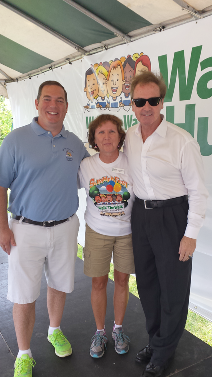 Pictured, from left: Assemblyman Ray Walter, President and CEO of the Food Bank of WNY Marylou Borowiak and Congressman Brian Higgins at the start of Walk Off Hunger.