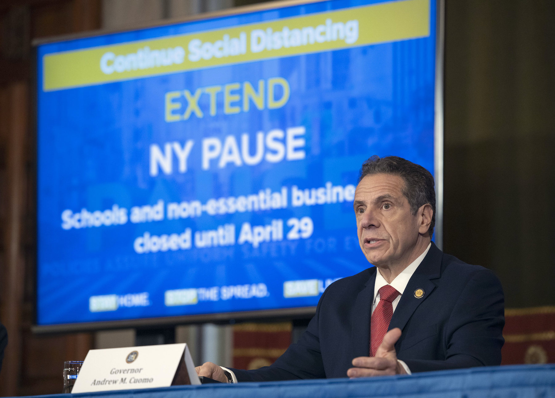Gov. Andrew M. Cuomo provides a coronavirus update during a press conference in the Red Room at the State Capitol. (Photo by Mike Groll/Office of Gov. Andrew M. Cuomo)
