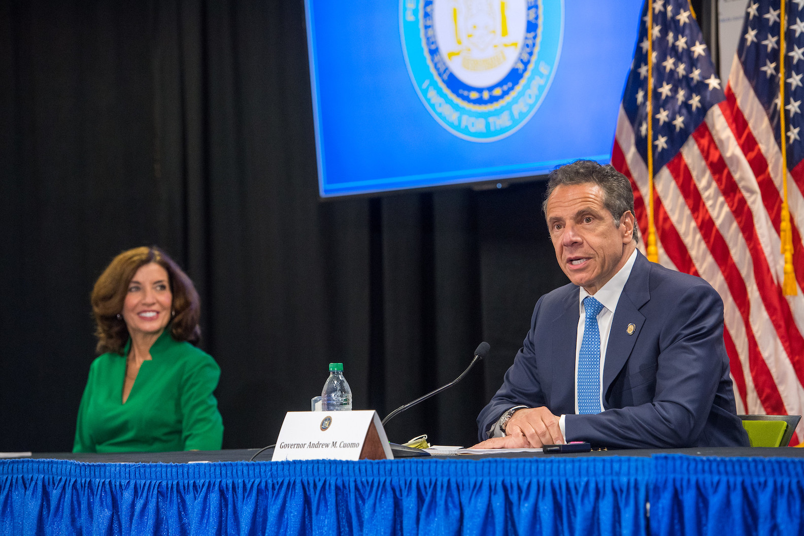 Gov. Andrew Cuomo held Monday's COVID-19 press briefing at Roswell Park Comprehensive Cancer Center in Buffalo. He is pictured with Lt. Gov. Kathy Hochul. (Photo by Darren McGee/ Office of Gov. Andrew M. Cuomo)