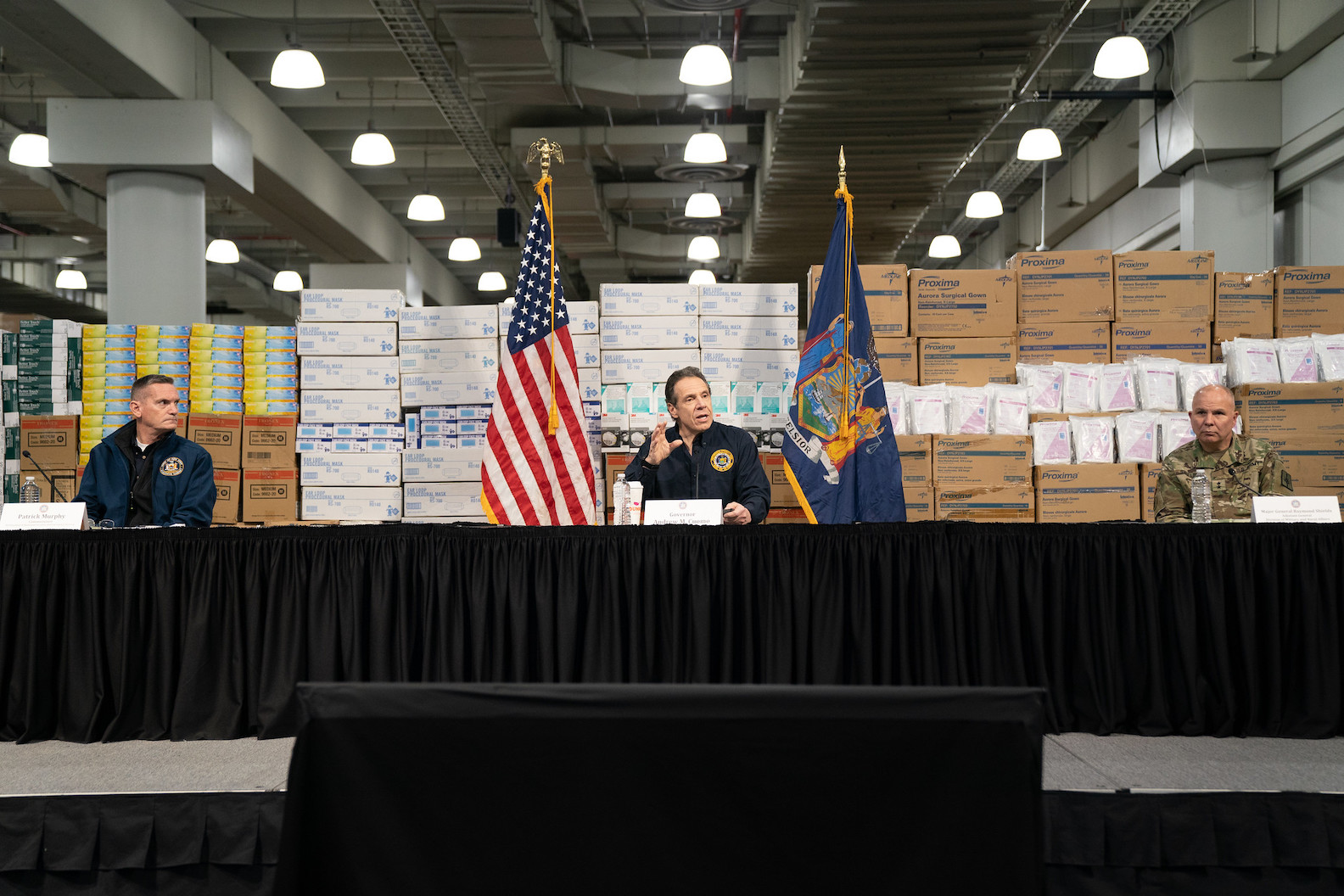 Gov. Andrew M. Cuomo holds a coronavirus briefing Tuesday at the Jacob Javits Convention Center. (Photo courtesy of the office of Gov. Andrew M. Cuomo)