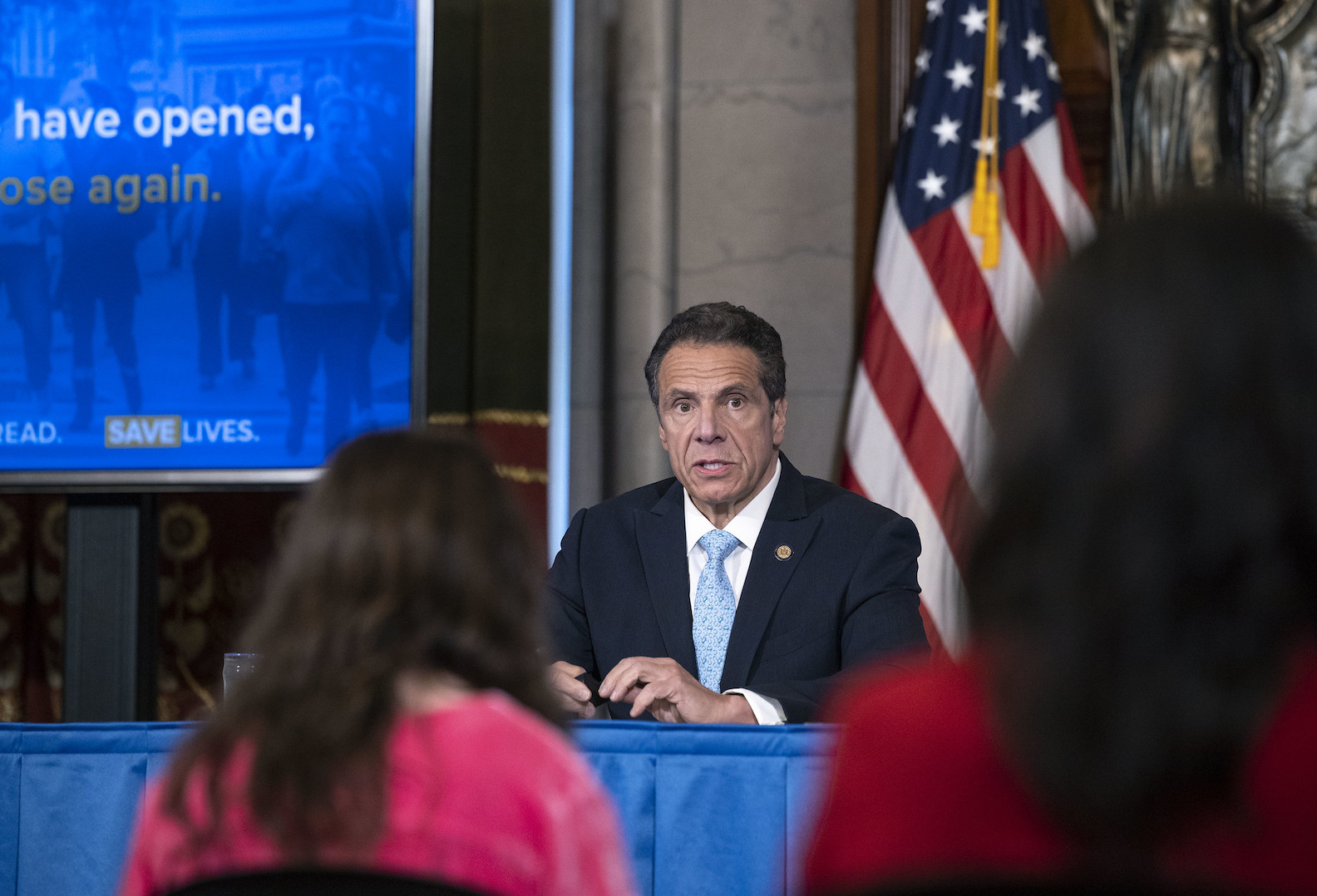 Gov. Andrew Cuomo provides a coronavirus update during a press conference Friday in the Red Room at the State Capitol. (Photo by Mike Groll/Office of Gov. Andrew M. Cuomo)