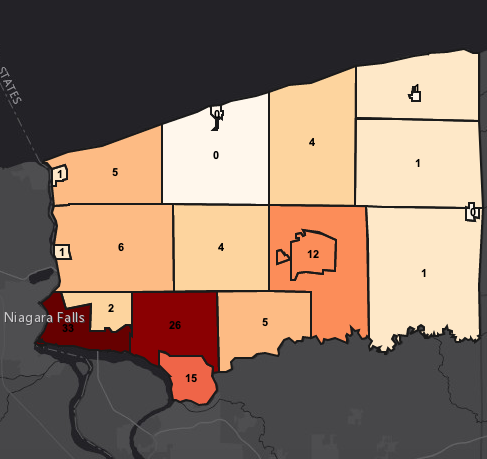 Monday's Niagara County `heat map` of COVID-19 cases.