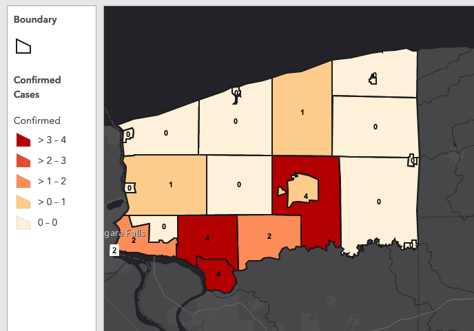 A screen grab of the Niagara County COVID-19 `heat map.`