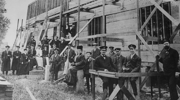 Members of the Buffalo Launch Club gathered for this photo during an inspection of their first clubhouse, then under construction, in 1906. The land was purchased from the Bedell House estate on Grand Island. The photo was published in a 1953 edition of the Buffalo Courier-Express. (From Buffalo Launch Club archives)