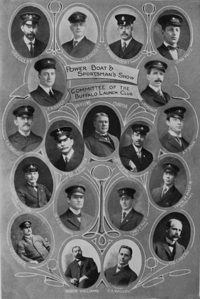This photo shows committee members of the Buffalo Launch Club who organized a Power Boat and Sportsman's Show in Buffalo in 1908. It was the second boat show ever held in the United States. (From Buffalo Launch Club archives)