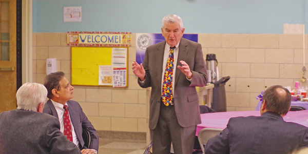 New York State Board of Regents member Robert Bennett speaks at a breakfast meeting of the Grand Island Rotary Club Wednesday at Kaegebein Elementary School.